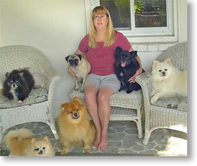 Trainer Kim Pike and her dogs