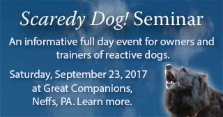 Reactive Scaredy Dog seminar for owners and trainers. September 23, 2017, at Great Companions