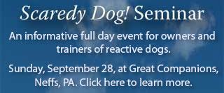 Reactive Scaredy Dog seminar for owners and trainers. September 28, 2014, at Great Companions